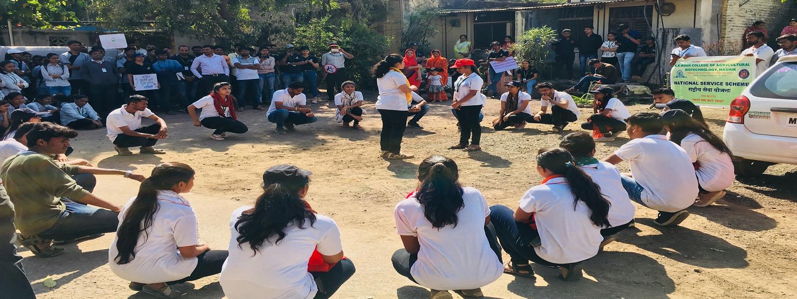Road Show by volunteers for social awareness at NSS Camp at Sukena , Nashik