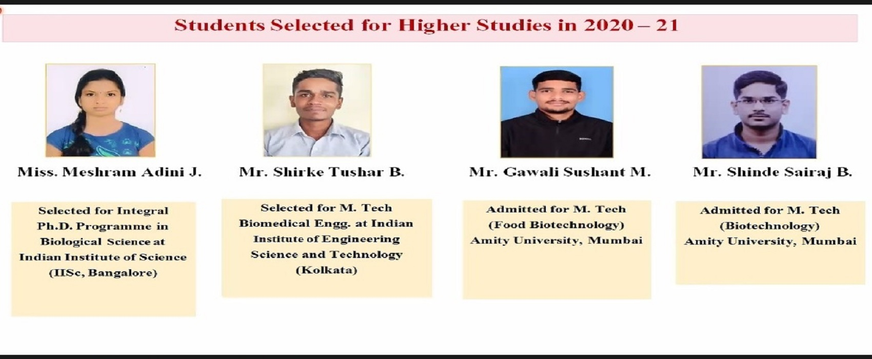 Final year students selected for Higher education 2021